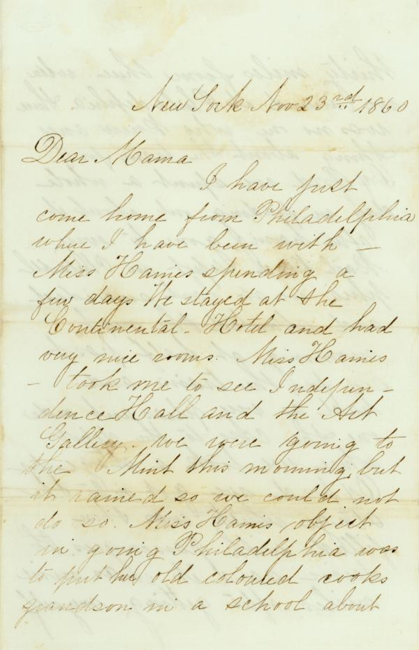The first page of a letter written by Nellie Blow to her mother in 1863.