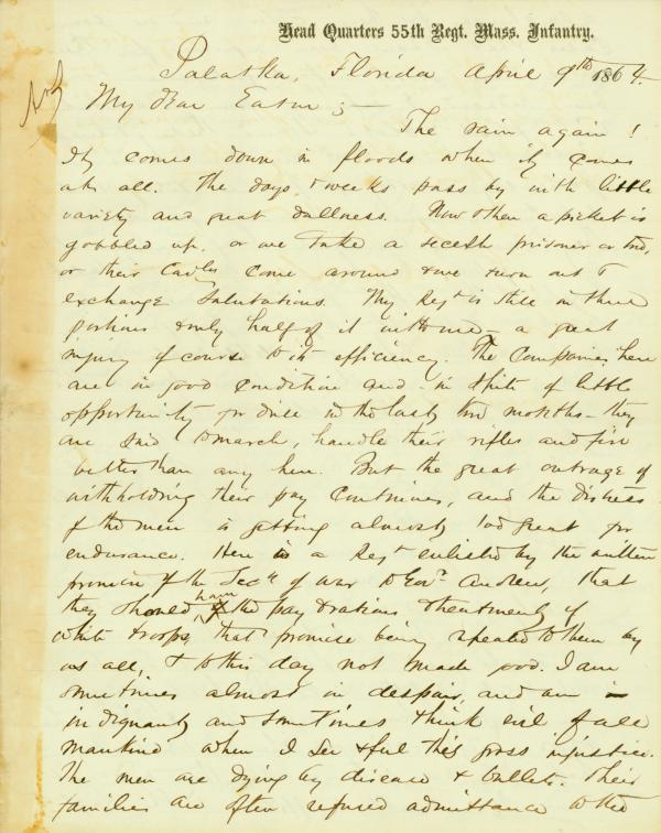 The first page of a letter written by Alfred S. Hartwell in 1864.
