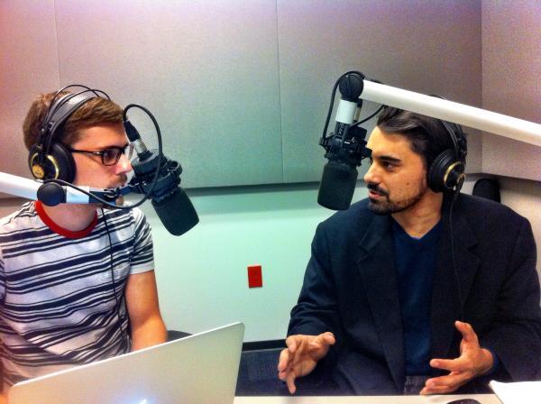 Nick Garcia (L) interviews John Maxfield (R) for Arch City Radio Hour.