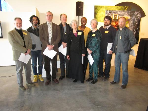 From left: Van McElwee (Media Arts), Stan Chisholm (Visual Art), Richard Newman (Literature), Philip Boehm (Literature), Alice Bloch (Dance), Kathryn Bentley (Theater Arts), Deanna Jent (Theater Arts), Juan William Chavez (Visual Arts), Arny Nadler (Visual Arts)