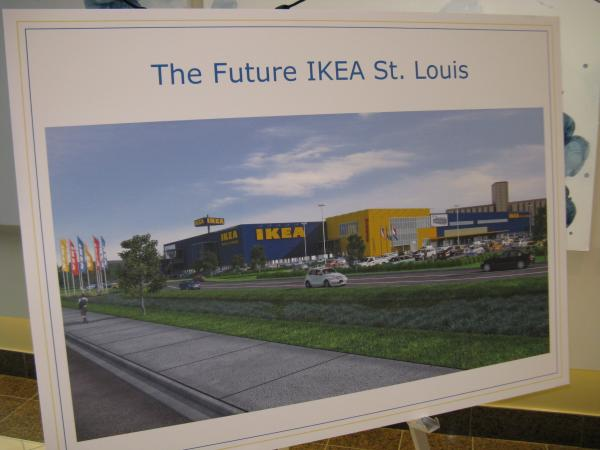 An artist's rendering of the new St. Louis city IKEA store.