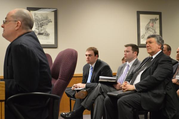 Attorney Joseph Luby testifies while Corrections Director George Lombardi looks on.
