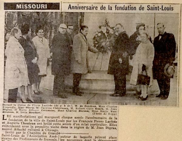 A french newspaper report on the 1964 wreath ceremony organized by the late Jacques Chincoineau.