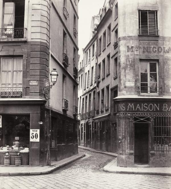 Charles Marville, French, 1813–1879; Rue Des Lavandières, c.1868; albumen print from collodion glass negative; 11 3/4 x 10 3/4 inches; The Nelson-Atkins Museum of Art, Kansas City, Missouri, Gift of the Hall Family Foundation, 2007.2.9 Photo: Joshua Ferdinand