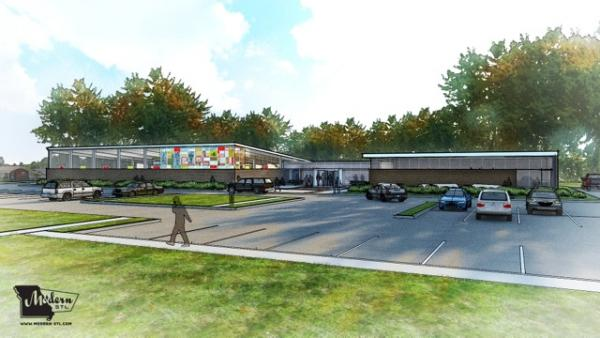 Conceptual rendering for expanded library building
