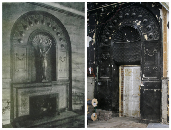 At left, the lady with the clock as it appeared decades ago (photo provided). At right, the area waits to reclaim its lost sculpture.