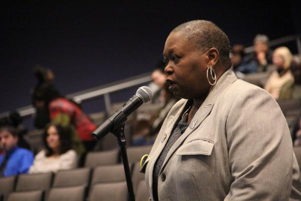 Mary Armstrong, president of the local chapter of the American Federation of Teachers, voices opposition to nonprofits running low-performing schools.