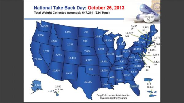 This map shows the pounds of drugs collected at a national drug take back event in October 2013.