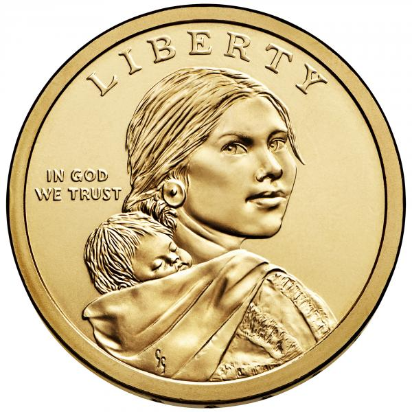 A Sacagawea $1 coin.