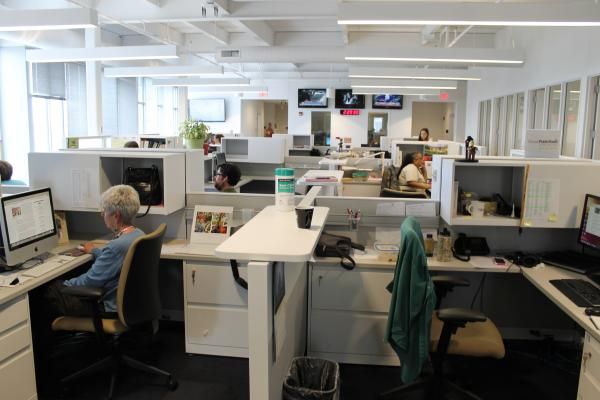 The St. Louis Public Radio Newsroom is certainly beautiful. And open. And we may not be in pods of four to six, but we're super collaborative and proudly report no incidence of violence.