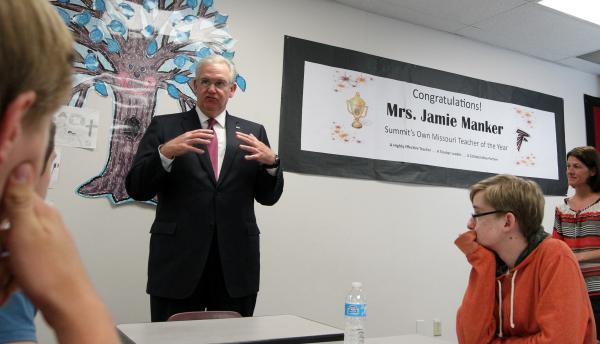 Gov. Jay Nixon speaks to a class at Rockwood Summit High School in Fenton.