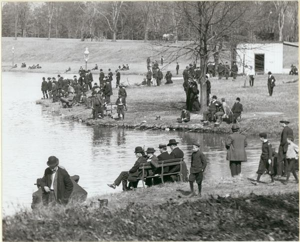 Men and boys fish at Carondelet Park in this photograph dated between 1900 and 1910.