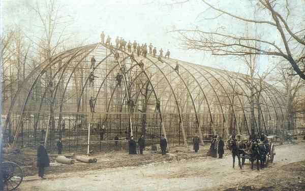 The birdcage under construction.
