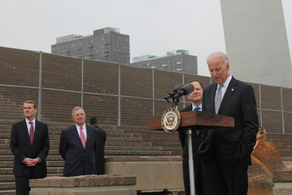 Vice President Joe Biden, right, speaks at the Arch grounds Tuesday afternoon. He addressed the importance of investing in infrastructure. U.S. Sen. Dick Durbin, D-Ill. (second from left) and St. Louis Mayor Francis Slay (behind Biden) were also present.