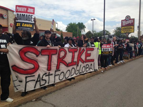 Striking fast food workers in south St. Louis, MO.