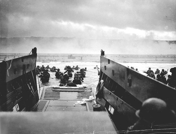 Allied troops landing at Normandy on D-Day, June 6, 1944.