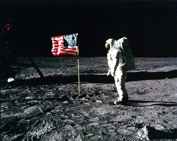 Astronaut Buzz Aldrin on the lunar surface, just after he saluted the American flag.