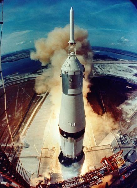 Fisheye view from the launch tower of the Apollo 11 Saturn V, seconds after first-stage ignition on July, 16, 1969.
