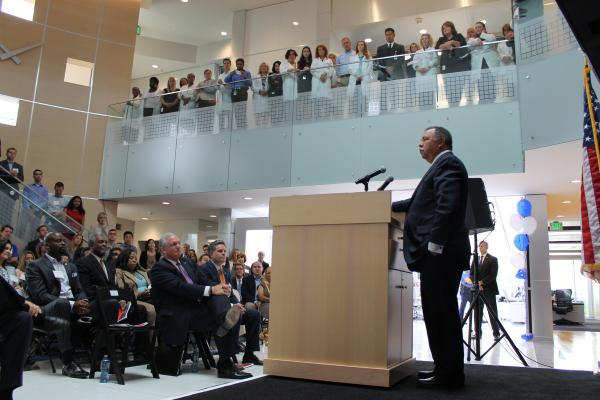 Express Scripts CEO George Paz speaks at his company's celebration of its $56 million expansion.