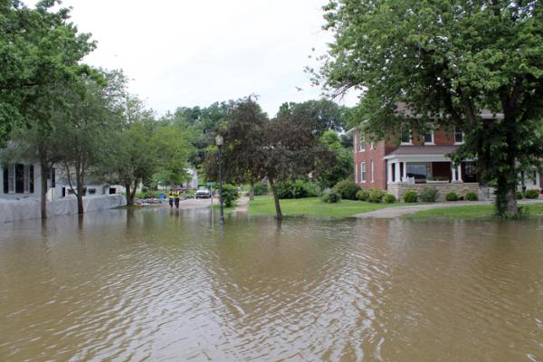 A flooded street in a residential part of Clarksville, Mo. early in the 2014 flood.