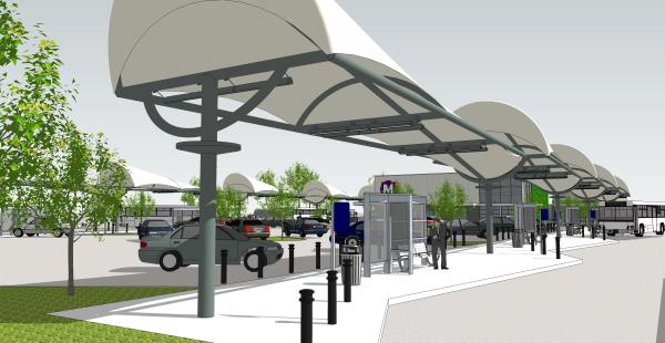 The renderings for the North County Transit Center in Ferguson.
