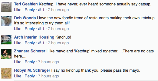 Facebook screen capture of comments on the K or C questions