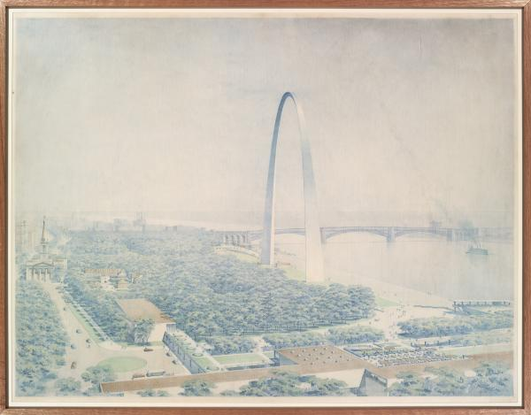 A 1948 rendering of what the Arch would look like by J. Henderson Barr. The landscaping is heavily wooded and the Arch is on the river levee. Eero Saarinen didn't live to see his arch completed; he died in 1961.