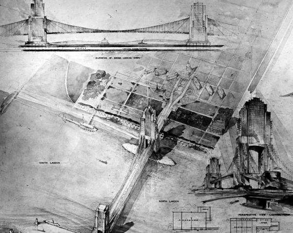 Bridge proposed by Paul Valenti. The design included an airport and a subway under the river.