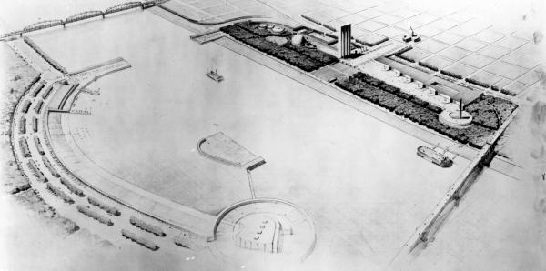 Eliel Saarinen's vision for the riverfront memorial.