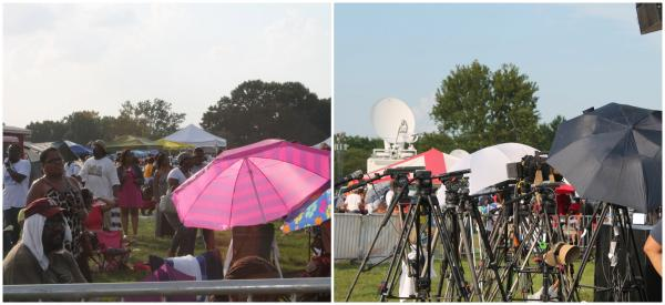 With temperatures well into the 90s during Better Family Life's Peacefest, people and cameras used umbrellas.