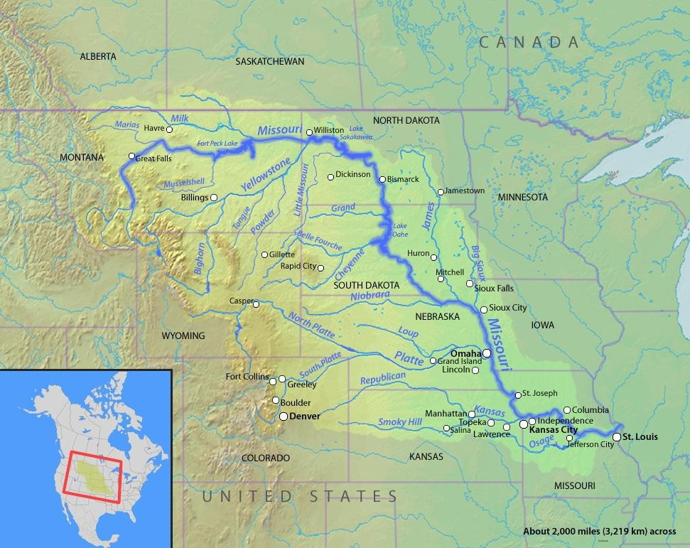 Major pipeline using missouri river among ideas for aiding arid a map of the path of the missouri river sciox Images