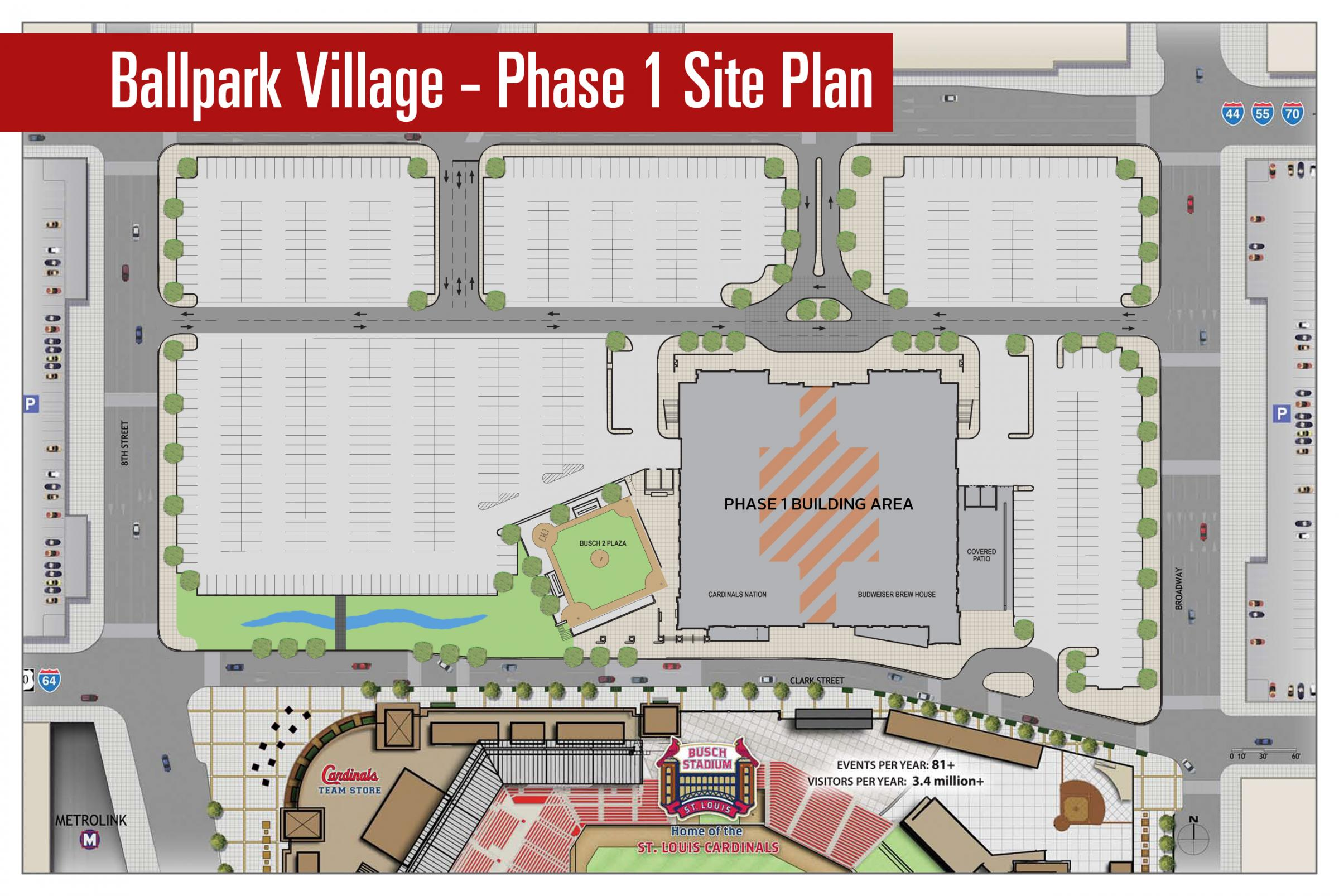 the footprint of the plans for the new ballpark village in relation to buschstadium and the surrounding property. ground broken on longawaited ballpark village  st louis public