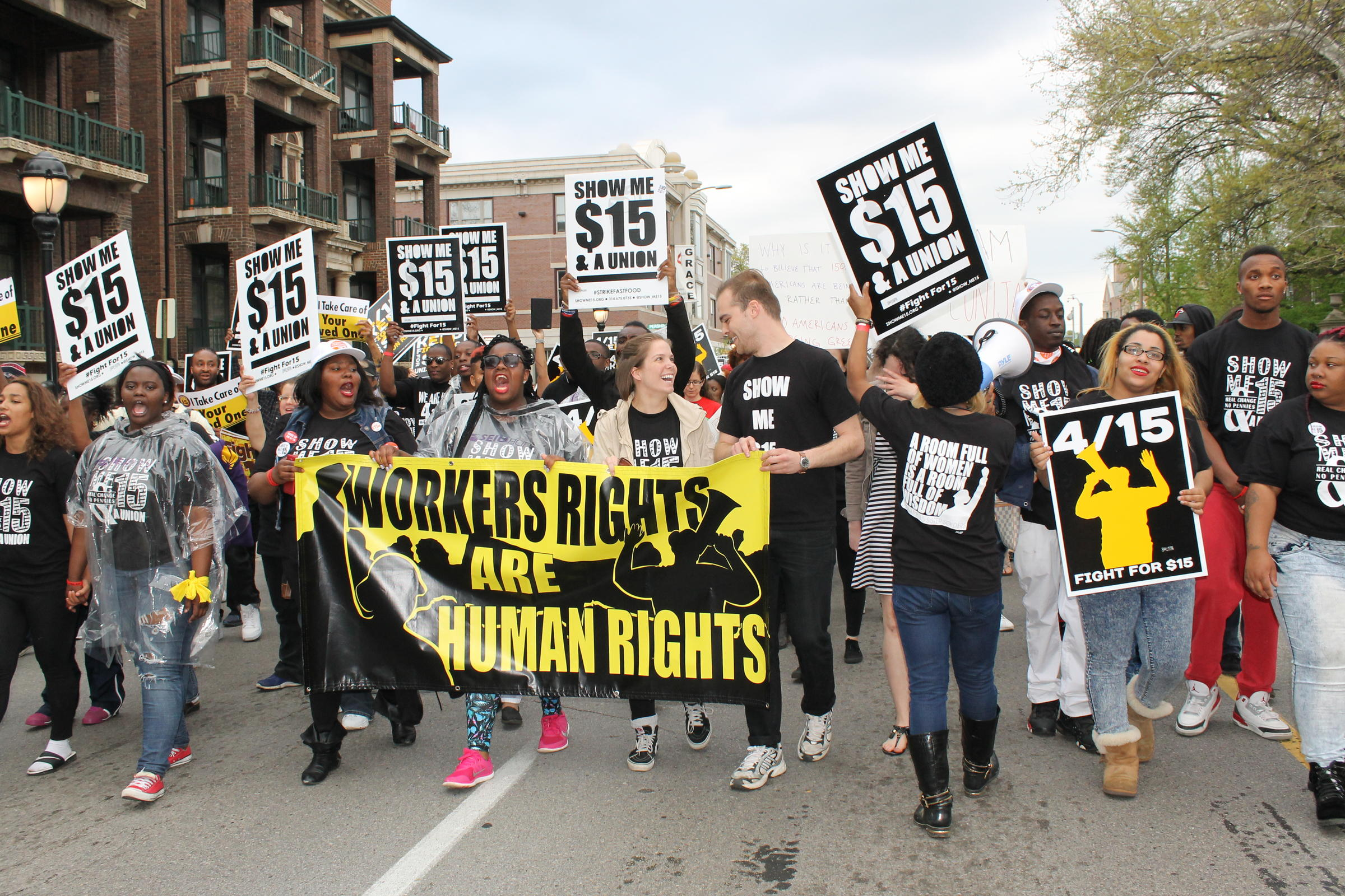 Image result for st louis protests minimum wage increase