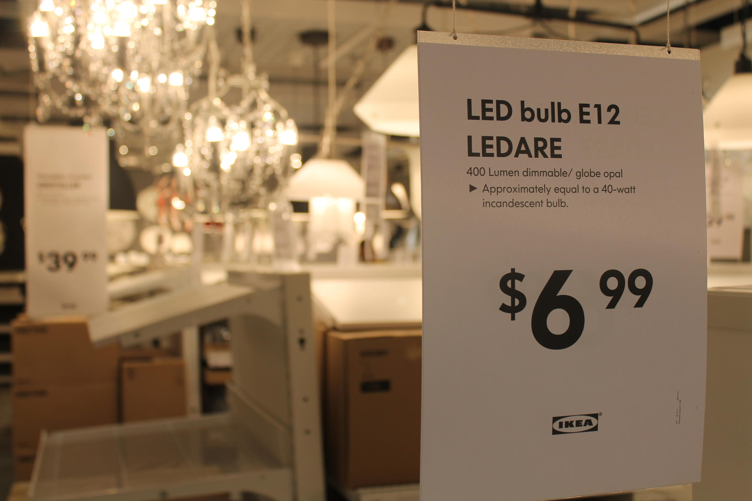 A Label For Led Light Bulbs With Light Displays In The Background The St Louis Store Is Ikea S First Of Its Size To Operate On And Sell Only Led Lights