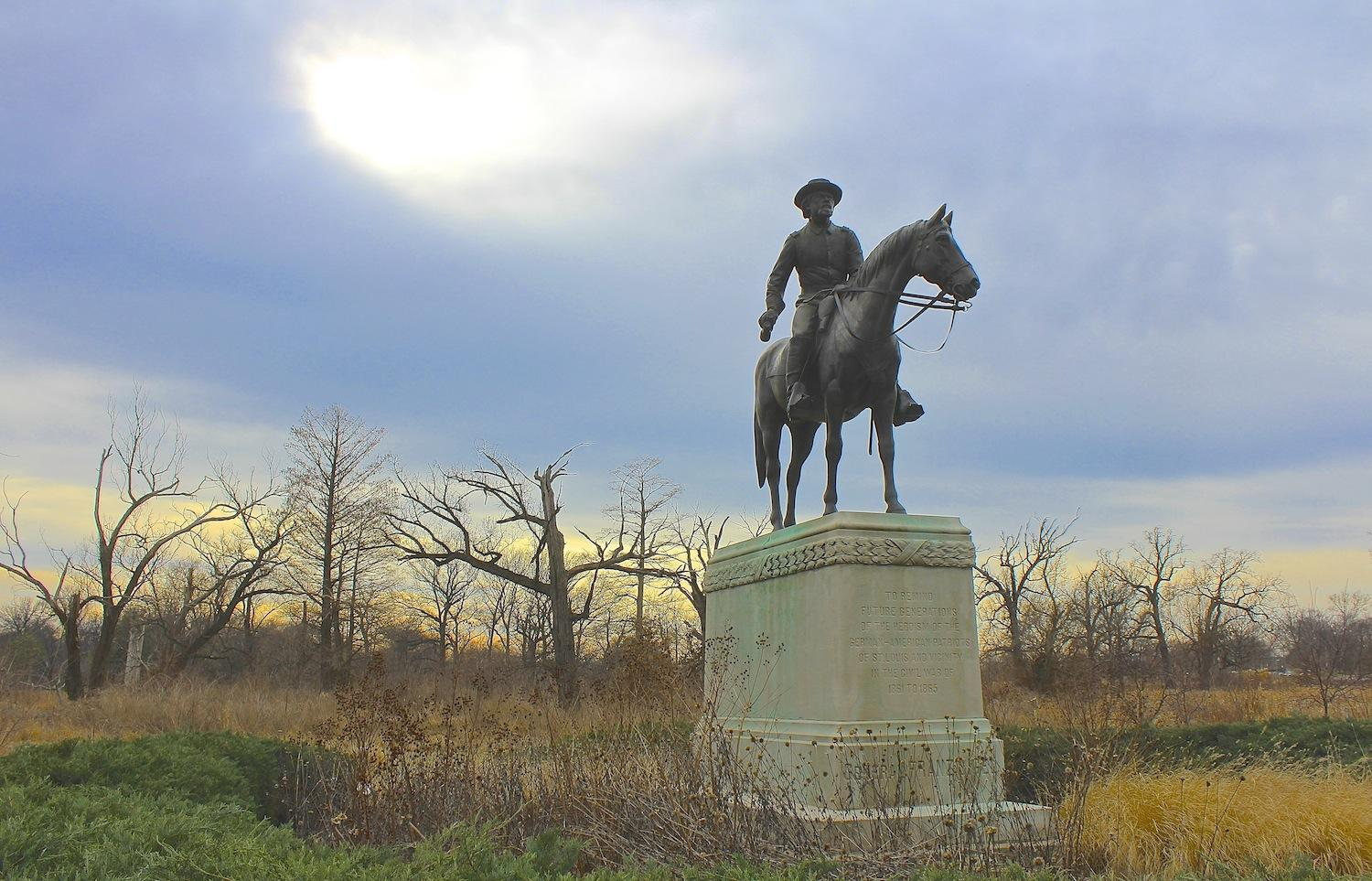 Curious louis we take a monumental look at the civil war in st the statue of union gen franz sigel is just a short walk from the confederate memorial in forest park biocorpaavc Choice Image