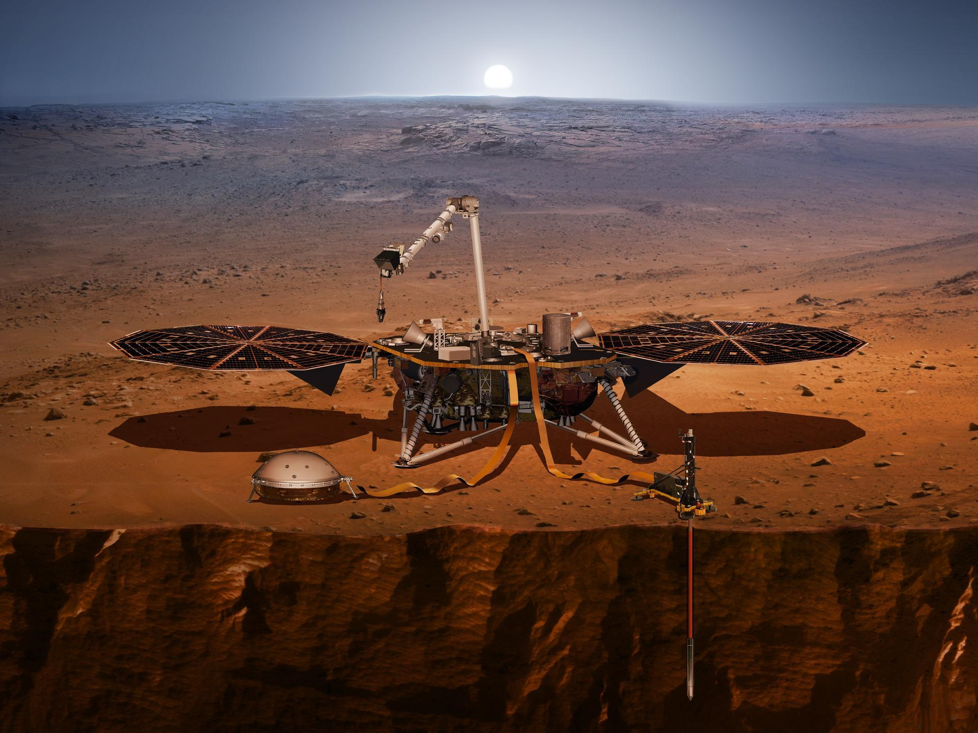 An illustration of the In Sight lander its sensors cameras and instruments