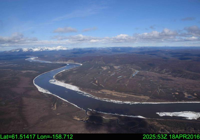 Napaimute, looking downstream. April 18, 2016. Photo courtesy the National Weather Service, Alaska.