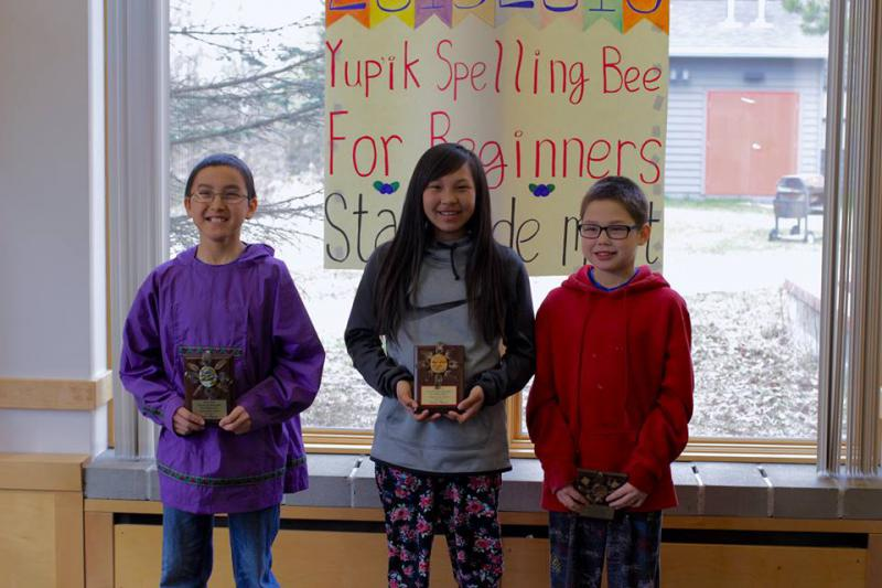 (Left to right.) 1st place, Daniel Hunter, 7th grade, Sheldon Point School; 2nd place, Celeste Katcheak, 7th grade, Tukurngailnguq School; and 3rd place, Emery Lockwood, 6th grade, Tukurngailnguq School.