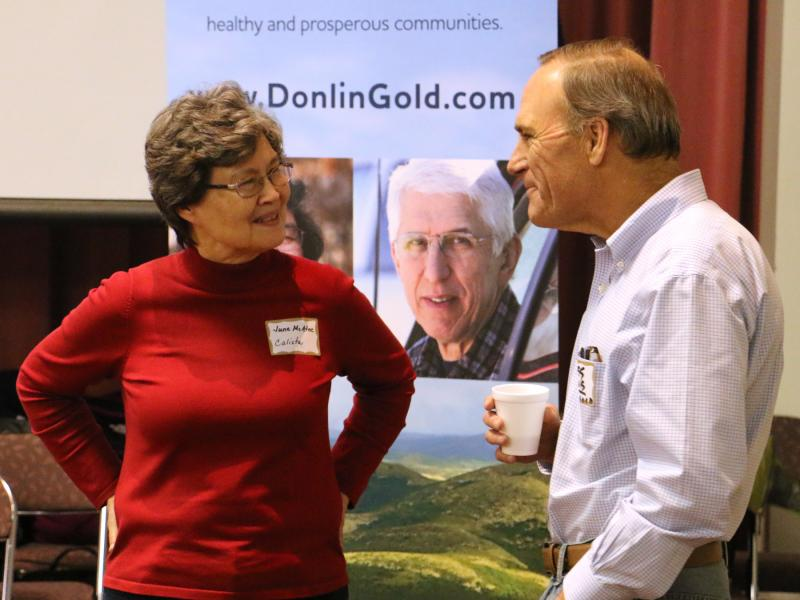 June McAtee, vice president of Land and Shareholder Services at Calista, with Greg Lang, NOVAGOLD president and CEO. (Photo by Dean Swope / KYUK.)
