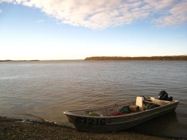 Fishing skiff in Marshall, Alaska.