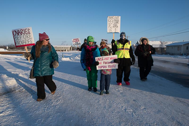 Despite temperatures reaching 25 below zero in Bethel, protesters march in solidarity with demonstrations worldwide calling for the equal treatment of women and all people on January 21, 2017.