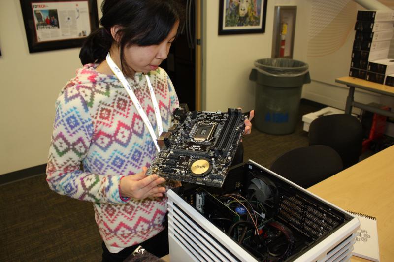 Kyra John of Kwigillingok builds a computer at the February 2017 Alaska Native Science and Engineering Program at the University Alaska Anchorage.