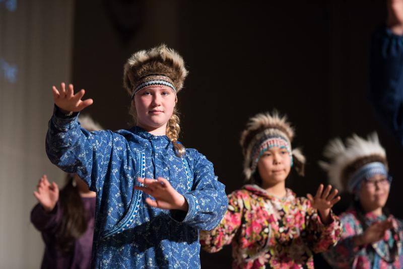 Dancers from Ayaprun Elitnaurvik perform on Saturday, April 1 at the 2017 Cama'i Dance Festival.