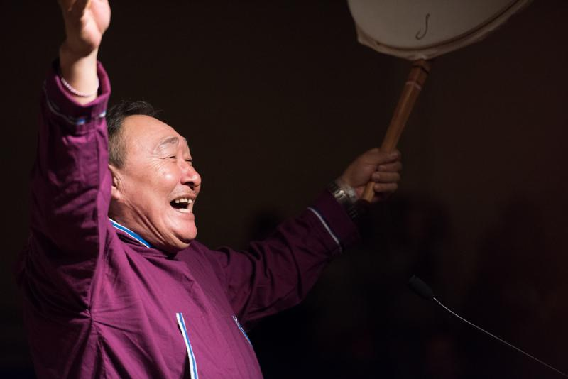 """John Pingayaq leads """"Heart of the Drums"""" on Saturday, April 1 at the 2017 Cama'i Dance Festival."""