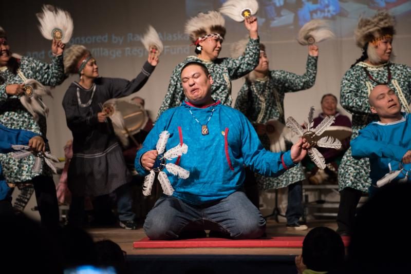 "The group ""Pingayaq"" of Chevak performs on Saturday, April 1 at the 2017 Cama'i Dance Festival."