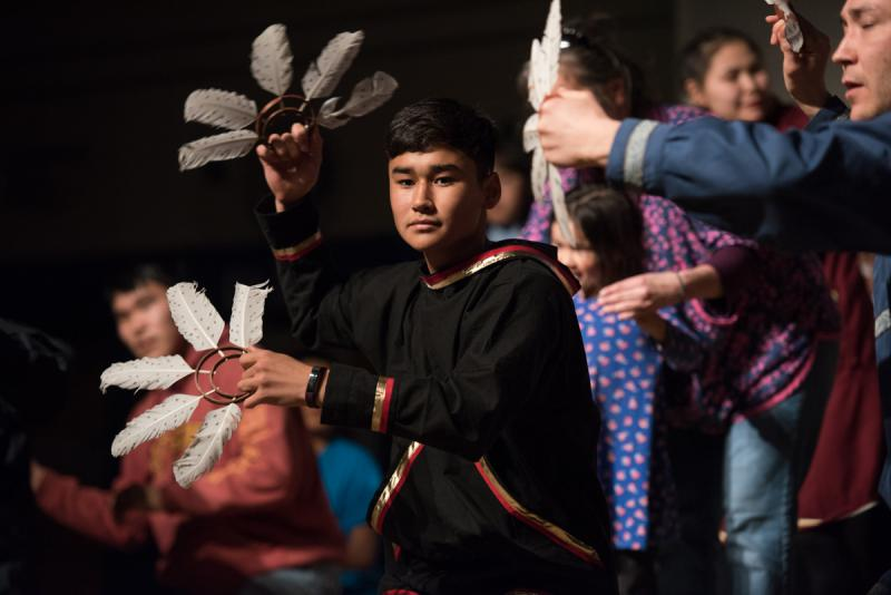 Avery Hoffman performs with family members and the dance group, Pamyua after his aunt Marie Meade received a Cama'i Honors Award on Sunday, April 2 at the 2017 Cama'i Dance Festival.