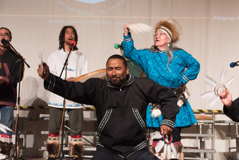 Stephen Blanchett of Pamyua performs with his mother, Marie Meade and his brother Phillip Blanchett, also of Pamyua on Sunday, April 2 at the 2017 Cama'i Dance Festival.