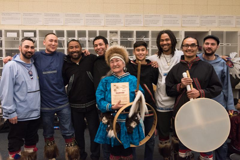 Arnaq Marie Meade and the group, Pamyua, gather after performing on on Sunday, April 2 at the 2017 Cama'i Dance Festival. Philip Blanchett and Stephen Blanchett, both pictured here, are Marie Meade's sons.