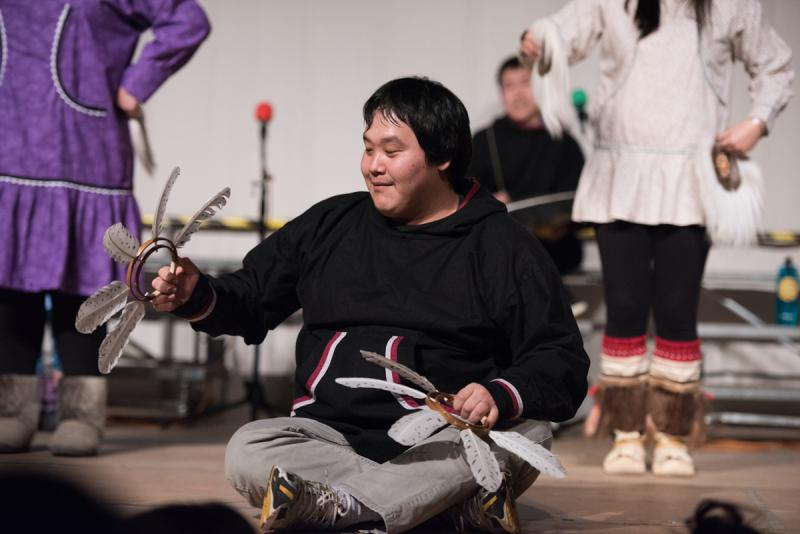 Louis of the Kuskokwim University Campus dancers performs on Sunday, April 2 at the 2017 Cama'i Dance Festival.