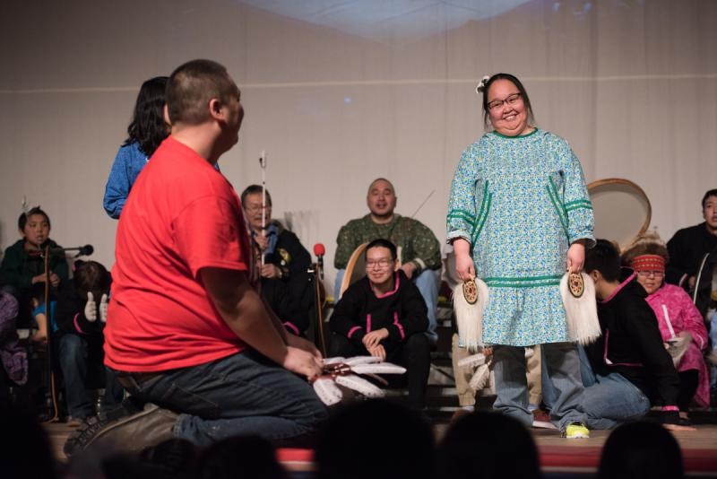 Upallret performs on stage on Sunday, April 2 at the 2017 Cama'i Dance Festival.